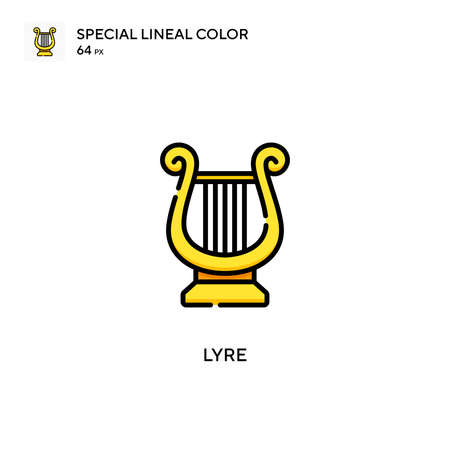 Lyre Special lineal color icon. Illustration symbol design template for web mobile UI element. Perfect color modern pictogram on editable stroke.