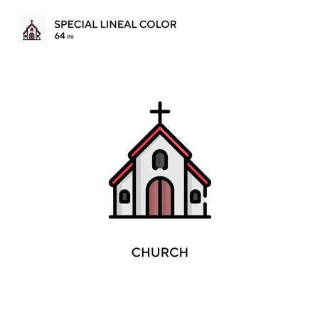 Church Special lineal color icon. Illustration symbol design template for web mobile UI element. Perfect color modern pictogram on editable stroke. Illusztráció