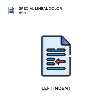 Left indent Special lineal color icon. Illustration symbol design template for web mobile UI element. Perfect color modern pictogram on editable stroke. Illustration