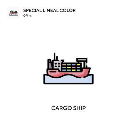 Cargo ship Special lineal color icon. Illustration symbol design template for web mobile UI element. Perfect color modern pictogram on editable stroke. Illustration