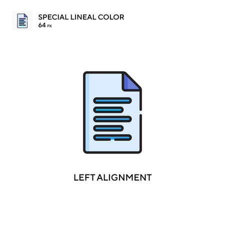 Left alignment Special lineal color icon. Illustration symbol design template for web mobile UI element. Perfect color modern pictogram on editable stroke.