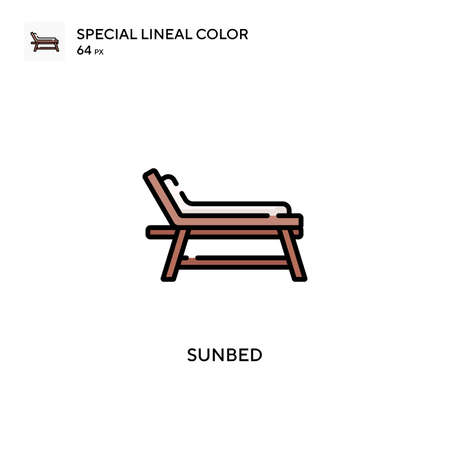 Sunbed Special lineal color icon. Illustration symbol design template for web mobile UI element. Perfect color modern pictogram on editable stroke. Vettoriali