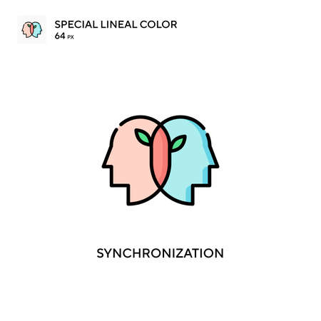 Synchronization Special lineal color icon. Illustration symbol design template for web mobile UI element. Perfect color modern pictogram on editable stroke.