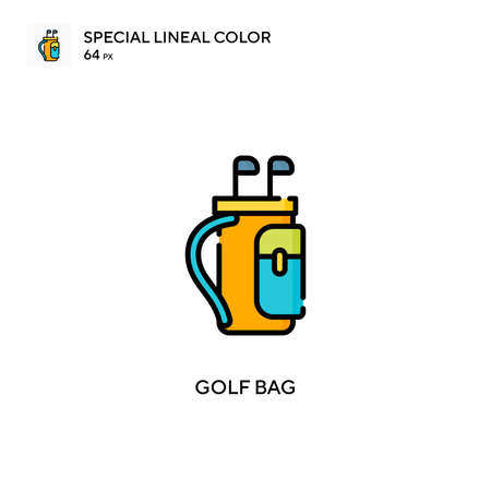 Golf bag Special lineal color icon. Illustration symbol design template for web mobile UI element. Perfect color modern pictogram on editable stroke.
