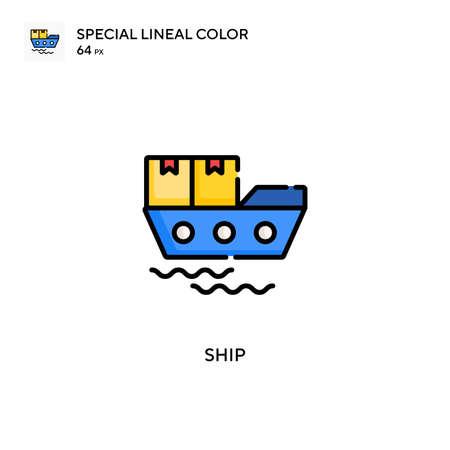 Ship Special lineal color icon. Illustration symbol design template for web mobile UI element. Illustration