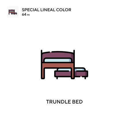 Trundle bed Special lineal color icon. Illustration symbol design template for web mobile UI element.