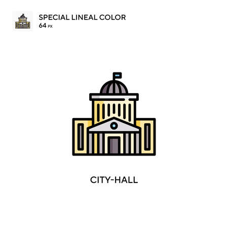 City-hall Special lineal color icon. Illustration symbol design template for web mobile UI element. 向量圖像