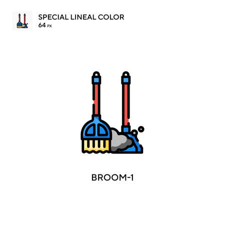 Broom-1 Special lineal color icon. Illustration symbol design template for web mobile UI element.
