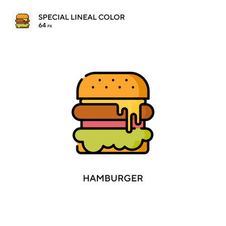 Hamburger Special lineal color icon. Illustration symbol design template for web mobile UI element.