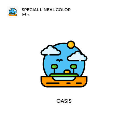 Oasis Special lineal color icon. Illustration symbol design template for web mobile UI element.