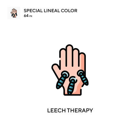 Leech therapy Special lineal color icon. Illustration symbol design template for web mobile UI element.