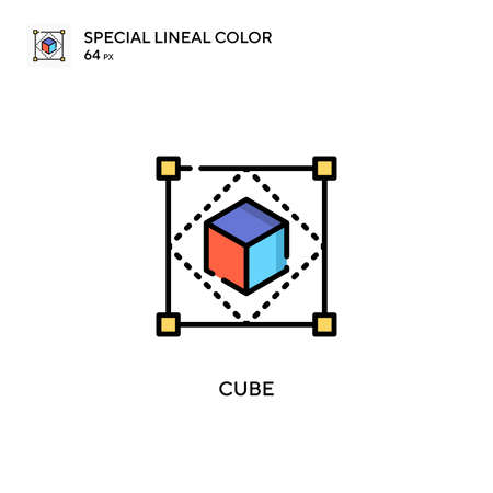 Cube Special lineal color icon. Illustration symbol design template for web mobile UI element. Perfect color modern pictogram on editable stroke. 矢量图像