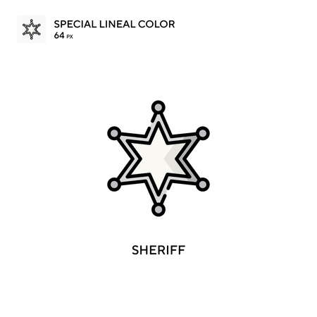 Sheriff Special lineal color icon. Illustration symbol design template for web mobile UI element. Perfect color modern pictogram on editable stroke. Illustration
