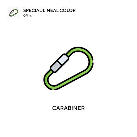Carabiner Special lineal color icon. Illustration symbol design template for web mobile UI element. Perfect color modern pictogram on editable stroke.