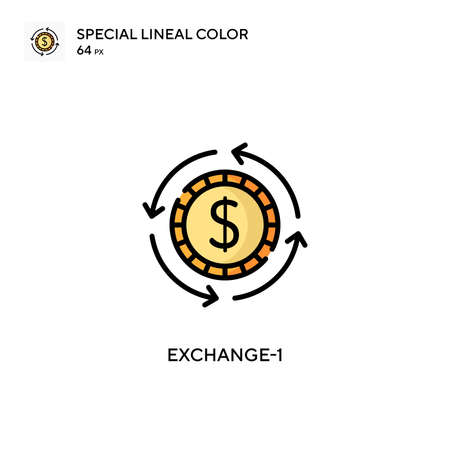 Exchange-1 Special lineal color icon. Illustration symbol design template for web mobile UI element. Perfect color modern pictogram on editable stroke. Иллюстрация