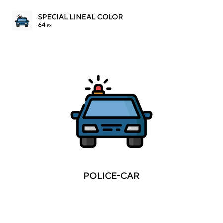 Police-car Special lineal color icon. Illustration symbol design template for web mobile UI element. Perfect color modern pictogram on editable stroke.