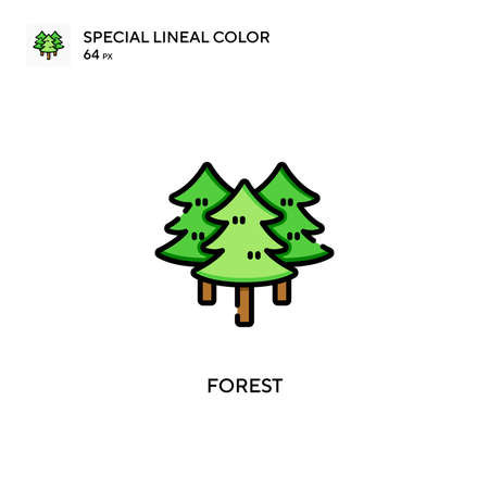 Forest Special lineal color icon. Illustration symbol design template for web mobile UI element. Perfect color modern pictogram on editable stroke.