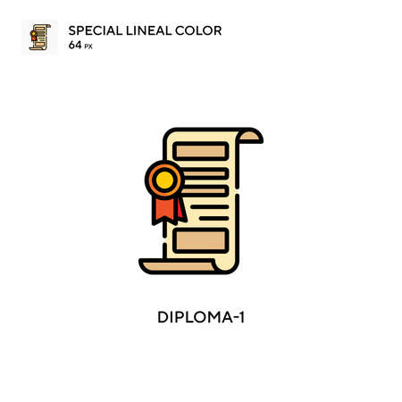 Diploma-1 Special lineal color icon. Illustration symbol design template for web mobile UI element. Perfect color modern pictogram on editable stroke.