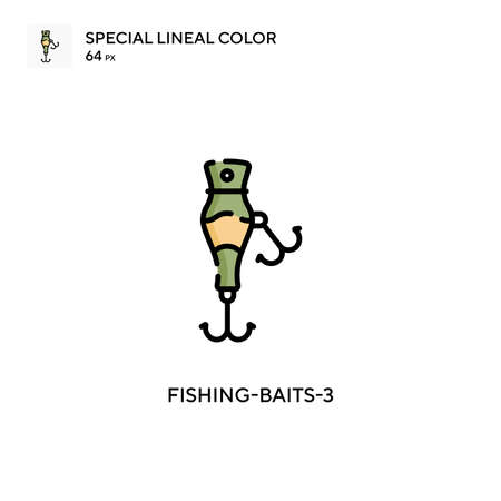 Fishing-baits-3 Special lineal color icon. Illustration symbol design template for web mobile UI element. Perfect color modern pictogram on editable stroke. Vectores
