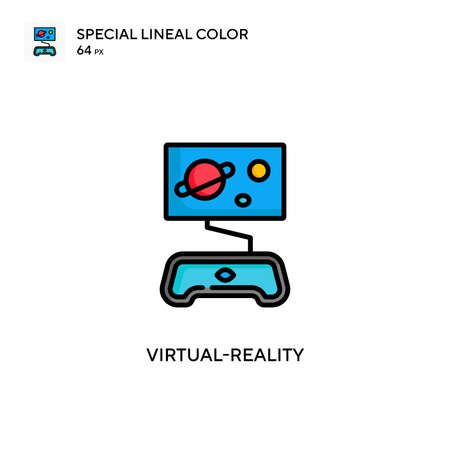Virtual-reality Special lineal color icon. Illustration symbol design template for web mobile UI element. Perfect color modern pictogram on editable stroke. Çizim