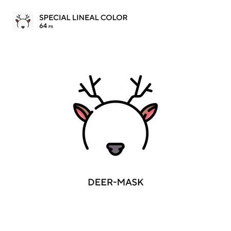 Deer-mask Special lineal color icon. Illustration symbol design template for web mobile UI element. Perfect color modern pictogram on editable stroke.