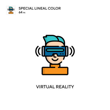 Virtual reality Special lineal color icon. Illustration symbol design template for web mobile UI element. Perfect color modern pictogram on editable stroke.