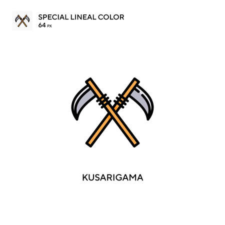 Kusarigama Special lineal color icon. Illustration symbol design template for web mobile UI element. Perfect color modern pictogram on editable stroke. Vettoriali