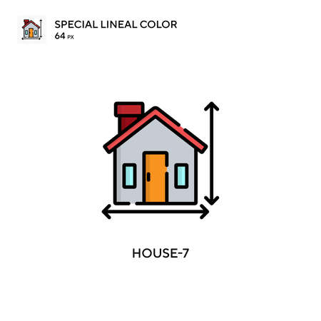 House-7 Special lineal color icon. Illustration symbol design template for web mobile UI element. Perfect color modern pictogram on editable stroke.