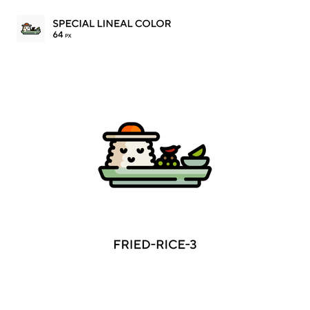 Fried-rice-3 Simple vector icon. Perfect color modern pictogram on editable stroke. Vettoriali