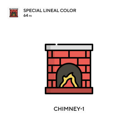 Chimney-1 Simple icon. Perfect color modern pictogram on editable stroke.