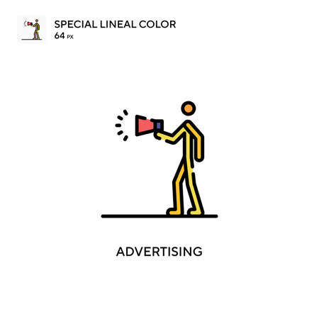 Advertising Simple icon. Perfect color modern pictogram on editable stroke. Stock Illustratie