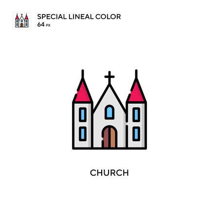 Church Simple vector icon. Perfect color modern pictogram on editable stroke. Illusztráció