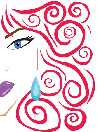 Lady face siluet with red hair and earing Vector