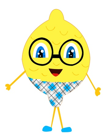 kid pointing: Lemon man Illustration