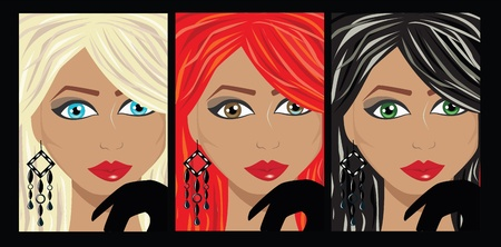 vector illustraton of 3 different colored womens