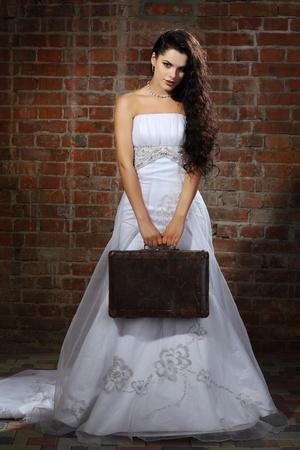wedding veil: Girl is in wedding dress