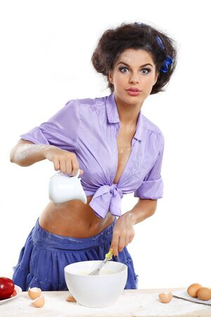 glamur: Photo of beautiful sexual brunette on a kitchen in style of pinap Stock Photo