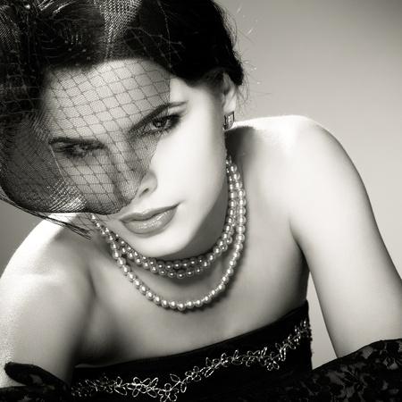Portrait beautiful  girl in retro style photo