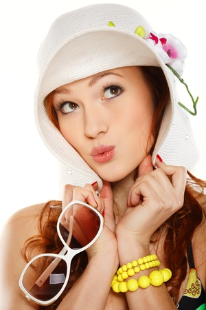 Portret beautiful redheaded girl in summer style photo