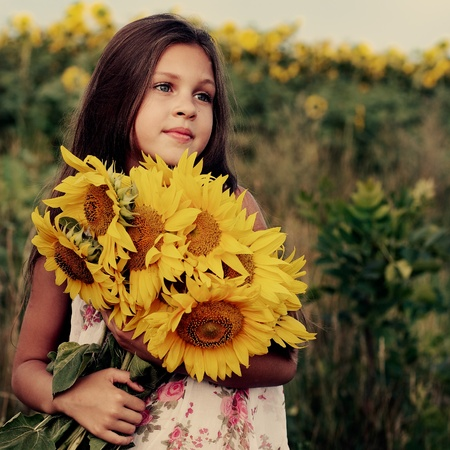A little girl is in the field Stock Photo - 10417617