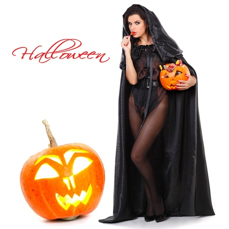 brunette in the suit of witch in night of Halloween Stock Photo - 10417599