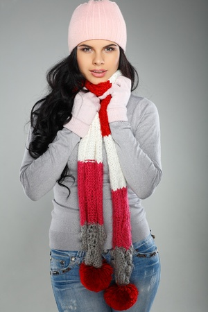 winter clothes: A photo of beautiful girl is in winter clothes
