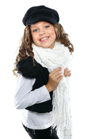 vivacious: A little beautiful girl is in autumn clothes, isolated on a white background