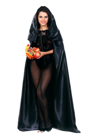 Sexual brunette in the suit of witch in night of Halloween Stock Photo - 10805236