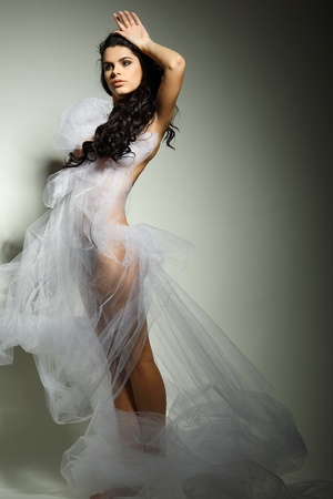a beautiful young girl is in a bridal veil photo