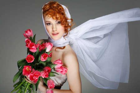 Portrait beautiful redheaded  girl in retro style Stock Photo - 12452290