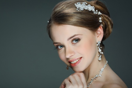 personal accessory: A beautiful young girl is in a wedding decoration