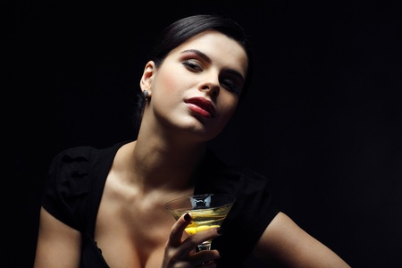 beautiful young girl  with  glass of martini Stock Photo - 13292709