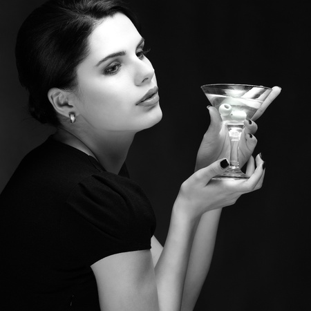 beautiful young girl  with  glass of martini Stock Photo - 13292712