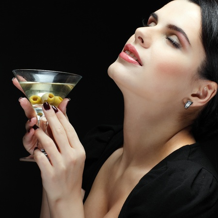 beautiful young girl  with  glass of martini Stock Photo - 13292620